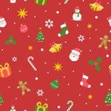 De naadloze achtergrond van Kerstmis Vlakke kleuren Het ontwerp van de beeldverhaalstijl vector illustratie