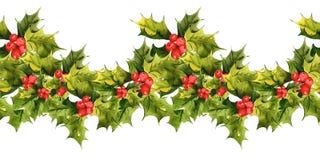 De naadloze achtergrond van Kerstmisholly watercolor Stock Afbeeldingen