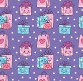 De naadloze achtergrond van de verjaardagskrabbel met de doos van de kawaiigift vector illustratie