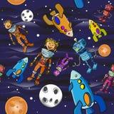 De naadloze astronauten van het patroonbeeldverhaal Royalty-vrije Stock Afbeelding