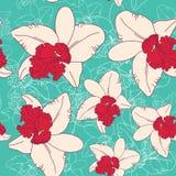 De naadloze bloemen bloeiende roze witte orchidee van de patroonfantasie op blauwe achtergrond Royalty-vrije Stock Foto