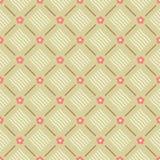De naadloze bloemen geometrische patroonvector met koraalroze bloeit bruine lijnen en de beige golvende achtergrond van het ornam Royalty-vrije Stock Foto's