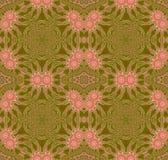 De naadloze bloemen roze bloesems van het cirkelornament op olijf groen met bruin Royalty-vrije Stock Foto's