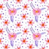 De naadloze bloemen roze bloemen van de patroonwaterverf stock illustratie