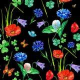 De naadloze bloemen van de patroonwaterverf Stock Afbeelding