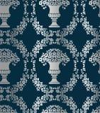 De naadloze bloemrijke vaas van het damast vector uitstekende patroon stock illustratie