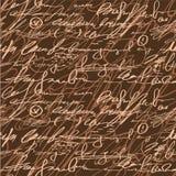 De naadloze bruine elegantiehand schrijft patroon Royalty-vrije Stock Afbeelding