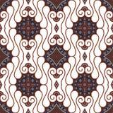De naadloze Bruine Witte Achtergrond van de Batik Royalty-vrije Stock Afbeeldingen