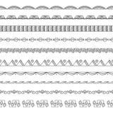 De naadloze Elementen van de Grens en van het Frame van de Krabbel Stock Afbeeldingen