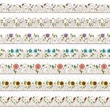 De naadloze Elementen van de Grens en van het Frame van de Krabbel Bloemen Stock Afbeeldingen
