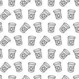 De naadloze fles van de patroonhand getrokken drug en tablettenkrabbel Sket vector illustratie