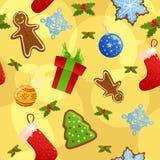 De naadloze gele achtergrond van Kerstmis Stock Foto
