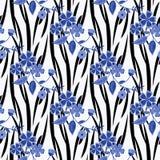 De naadloze gestreepte achtergrond van het bloemenpatroon Stock Foto's