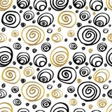 De naadloze Getrokken Hand van Patroon Gouden Zwarte Whitw vector illustratie