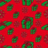 De naadloze giften achtergrond van Kerstmis Royalty-vrije Stock Afbeeldingen