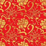 De naadloze Gouden Chinese Bloem van de Achtergrond Spiraalvormige Krommepioen Royalty-vrije Stock Fotografie