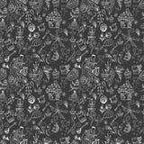 De naadloze grappige achtergrond van de theetijd, krabbelillustratie Royalty-vrije Stock Fotografie