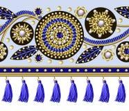 De naadloze grens met bloemen borduurde lovertjes, parels en parels en randen voor textielontwerp Vectormanierillustraties royalty-vrije illustratie