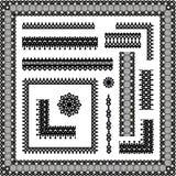 De naadloze grenzen van het kant, hoeken, frames, vignetten Royalty-vrije Stock Afbeeldingen