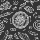 De naadloze grill van de patroonbarbecue Hoogste meningshoutskool, worst, vissen, lapje vlees royalty-vrije illustratie