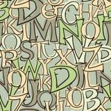 De naadloze hand getrokken achtergrond van stijlbrieven - groene toon Stock Illustratie
