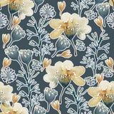 De naadloze hand illustreerde bloemenpatroon Waterverf botanische achtergrond stock illustratie