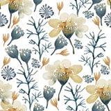 De naadloze hand illustreerde bloemenpatroon Waterverf botanische achtergrond royalty-vrije illustratie