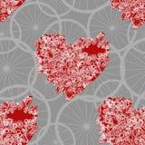 De naadloze harten van patroonsteampunk met oude fietsen en toestellen Stock Afbeeldingen