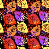 De naadloze herfst verlaat patroon, in verwijderde druk in collage, Stock Afbeelding