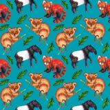 De naadloze hyperrealistic aard van het waterverfpatroon van de keerkringen van Azië - tapir, meer tarsier, rode panda en palmbla vector illustratie