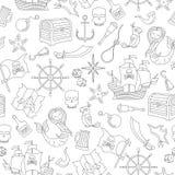 De naadloze illustratie van het onderwerp van piraterij en de overzeese reis schetsen pictogrammen, zwarte contour op witte achte stock illustratie