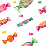 De naadloze illustratie van het Waterverfpatroon van de Heldere kleurenelementen van de suikergoedreeks op wit isoleerde achtergr stock illustratie