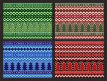De naadloze Inzameling van het Kerstmispatroon Vector geplaatste pixelpijnbomen en sneeuwvlokken Royalty-vrije Stock Foto's