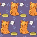 De naadloze kat is hongerig patroon vector illustratie