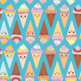 De naadloze kegel van de het Roomijswafel van patroonkawaii grappige, snuit met roze wangen en het knipogen ogen, pastelkleuren o Royalty-vrije Stock Fotografie
