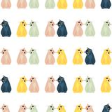 De naadloze kleurrijke die achtergrond van katten in verschillend wordt gemaakt stelt binnen royalty-vrije illustratie