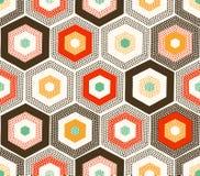 De naadloze krabbel stippelt hexagonaal patroon Stock Foto's
