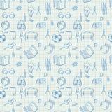 De naadloze krabbels van het schoolpatroon op wiskundedocument Stock Foto
