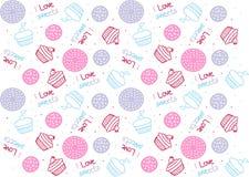 De Naadloze Leuke Vectoren van het Cupcakespatroon royalty-vrije stock afbeelding