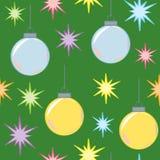 De naadloze Lichten en de Ornamenten van Kerstmis Stock Afbeelding