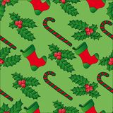 De naadloze maretak achtergrond van Kerstmis Royalty-vrije Stock Foto's