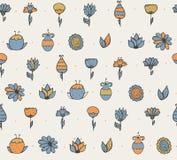 De naadloze modieuze textuur met kleurrijke krabbel bloeit, eenvoudig, handdrawn, op lichte achtergrond Patroon met borstel wordt Royalty-vrije Stock Afbeelding