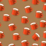 De naadloze mok van de achtergrondpatroonkoffie Vlak ontwerp Illustratio stock illustratie