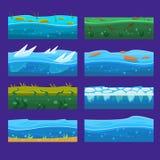 De naadloze oceaan, overzees, water, golven vectorachtergronden plaatste voor UI-spel in beeldverhaal Royalty-vrije Stock Afbeeldingen