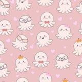 De naadloze octopus van de patroon leuke baby met liefde vector illustratie