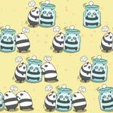 De naadloze panda's spelen samen patroon royalty-vrije illustratie