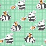 De naadloze panda speelt met hondpatroon royalty-vrije illustratie