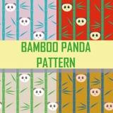 De naadloze panda van het patroonbamboe Stock Afbeeldingen