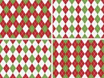 De naadloze Patronen van Argyle van Kerstmis in Groen en Rood Royalty-vrije Stock Afbeeldingen