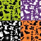 De Naadloze Patronen van Halloween Royalty-vrije Stock Afbeeldingen